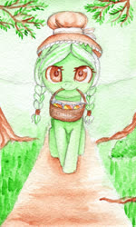Size: 1200x2000 | Tagged: safe, artist:0okami-0ni, granny smith, basket, female, filly, huevember, solo, traditional art, tree, young granny smith, younger