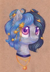 Size: 2100x3000   Tagged: safe, artist:0okami-0ni, oc, oc only, oc:claire, bust, jewelry, necklace, solo, traditional art