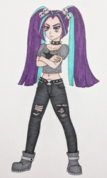 Size: 376x625 | Tagged: safe, artist:metalamethyst, aria blaze, equestria girls, boots, choker, clothes, crossed arms, goth, metal, nail polish, ripped, ripped pants, ripped shirt, shirt, shoes, simple background, skull, spiked choker, the dazzlings, traditional art, white background
