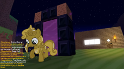Size: 1097x615 | Tagged: safe, artist:jan, edit, sweetie belle, don't mine at night, diamond pickaxe, house, implied apple bloom, implied button mash, implied rumble, implied scootaloo, implied skeedaddle, jewelry, minecraft, nether portal, peytral, pickaxe, scootaloo can fly, sweetie gold, text, tiara, torch