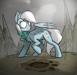 Size: 1832x1793 | Tagged: safe, artist:rexyseven, oc, oc:nimbus bolt, pony, clothes, don't starve, don't starve together, female, forest, mare, paw prints, ponified, raised hoof, scarf, solo, spread wings, wings