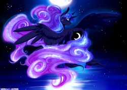 Size: 2411x1708 | Tagged: safe, artist:polkadot-creeper, princess luna, alicorn, pony, ethereal mane, female, mare, moon, night, sky, solo, spread wings, starry mane, starry night, stars, wings