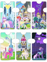 Size: 1280x1663 | Tagged: safe, artist:razorbladetheunicron, princess flurry heart, princess skyla, oc, oc:prince chocolate paradox, oc:prince soulful vessel, oc:princess serpentine whisper, oc:princess zenith, alicorn, changedling, changeling, changepony, hybrid, pony, lateverse, base used, bat wings, canterlot, canterlot castle, colored wings, crown, crystal empire, cutie mark, draconequus hybrid, female, gradient horn, gradient mane, gradient wings, interspecies offspring, jewelry, male, mare, next generation, offspring, parent:discord, parent:pharynx, parent:princess cadance, parent:princess celestia, parent:princess luna, parent:shining armor, parents:dislestia, parents:lunarynx, parents:shiningcadance, regalia, shark tail, stallion, unshorn fetlocks, wings
