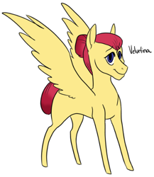 Size: 466x538 | Tagged: safe, artist:phobicalbino, oc, oc only, oc:velvetina, pegasus, pony, female, hair bun, magical lesbian spawn, mare, next generation, offspring, parent:fluttershy, parent:rarity, parents:flarity, simple background, solo, spread wings, white background, wings
