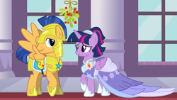 Size: 2064x1161 | Tagged: safe, flash sentry, twilight sparkle, alicorn, the last problem, armor, canterlot castle, christmas, clothes, coronation dress, cute, diasentres, dress, female, flashlight, hearth's warming, heartwarming, holiday, looking at each other, male, mistleholly, royal guard armor, second coronation dress, shipping, shipping fuel, smiling, straight, twiabetes, twilight sparkle (alicorn)
