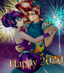 Size: 1752x2000 | Tagged: safe, artist:mandy1412, sci-twi, sunset shimmer, twilight sparkle, equestria girls, 2020, alternate hairstyle, dancing, female, fireworks, happy new year, happy new year 2020, holiday, lesbian, scitwishimmer, shipping, sunsetsparkle