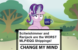 Size: 773x500 | Tagged: safe, starlight glimmer, change my mind, floppy ears, implied lesbian, implied rarijack, implied scitwishimmer, implied shipping, meme, op has an opinion, op is a duck, op is trying to start shit