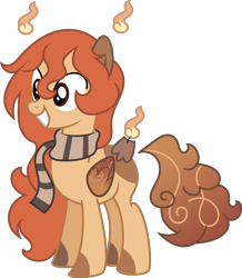 Size: 4428x5068 | Tagged: safe, artist:digimonlover101, artist:spencethenewbie, oc, oc only, oc:cinnamon bliss, original species, pegasus, pony, scented pony, absurd resolution, base used, clothes, commission, female, mare, scarf, simple background, smiling, solo, transparent background