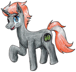 Size: 1722x1638   Tagged: safe, artist:40kponyguy, artist:ciaran, derpibooru exclusive, edit, oc, oc only, oc:pulse wave, pony, unicorn, 2020 community collab, derpibooru community collaboration, ear fluff, looking at you, male, raised hoof, simple background, solo, stallion, traditional art, transparent background
