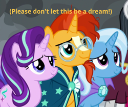 Size: 355x298 | Tagged: safe, edit, edited screencap, screencap, chancellor neighsay, starlight glimmer, sunburst, trixie, earth pony, pony, unicorn, the ending of the end, spoiler:s09e24, spoiler:s09e25, bisexual, cropped, dream, female, in love, lesbian, lesbian in front of boys, looking at someone, looking at something, lucky bastard, male, offscreen character, polyamory, shipping, smiling, starburst, startrixburst, straight, sunburst gets all the mares, talking to himself, talking to viewer, trio, trio focus, trixburst