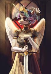 Size: 1700x2471 | Tagged: safe, artist:weird--fish, princess celestia, alicorn, anthro, armor, clothes, digital art, female, mare, solo, sword, warrior, warrior celestia, weapon
