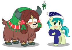 Size: 1920x1332 | Tagged: safe, artist:aleximusprime, sandbar, yona, earth pony, pony, yak, blushing, christmas, cute, female, holiday, imminent kissing, male, mistletoe, sandabetes, shipping, simple background, straight, this will end in kisses, transparent background, yonabar, yonadorable