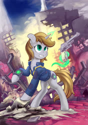 Size: 4251x6023 | Tagged: safe, artist:hobbes-maxwell, oc, oc only, oc:littlepip, pony, unicorn, fallout equestria, chest fluff, clothes, fanfic, fanfic art, female, glowing horn, grin, gun, handgun, hooves, horn, levitation, little macintosh, magic, mare, optical sight, pipbuck, raised hoof, revolver, ruins, scope, smiling, solo, stable-tec, telekinesis, vault suit, weapon