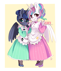 Size: 600x690 | Tagged: safe, artist:ipun, princess celestia, princess luna, alicorn, anthro, alternate hairstyle, arm hooves, blushing, breasts, cake, chestbreasts, clothes, colored hooves, cute, cutelestia, deviantart watermark, dress, duo, female, food, hair bun, lunabetes, maid, mare, obtrusive watermark, pantyhose, ponytail, royal sisters, shoes, siblings, sisters, smiling, watermark