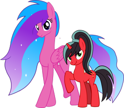 Size: 1450x1260 | Tagged: safe, artist:warszak, oc, oc:melody aurora, oc:red rosette, pony, unicorn, female, mare, offspring, parent:flash sentry, parent:twilight sparkle, parents:flashlight, ponytail, simple background, transparent background, vector