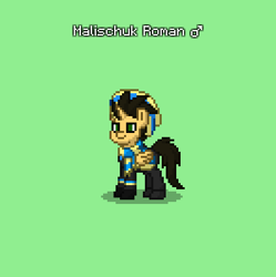 Size: 396x398 | Tagged: safe, oc, oc only, oc:malischuk roman, alicorn, pony, pony town, alicorn oc, cap, clothes, green background, hat, male, scarf, simple background, solo