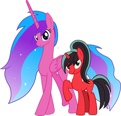 Size: 1450x1389 | Tagged: safe, artist:warszak, oc, oc:melody aurora, oc:red rosette, alicorn, pony, unicorn, 2020 community collab, derpibooru community collaboration, alicorn oc, duo, female, mare, mary sue, simple background, transparent background, vector