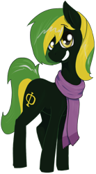 Size: 716x1296 | Tagged: safe, artist:t72b, derpibooru exclusive, oc, oc only, oc:vermont black, earth pony, pony, 2020 community collab, derpibooru community collaboration, clothes, grin, male, scarf, simple background, smiling, solo, stallion, transparent background