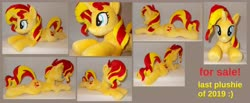Size: 6224x2560 | Tagged: safe, artist:calusariac, sunset shimmer, pony, unicorn, female, horn, irl, mare, photo, plushie, prone, solo