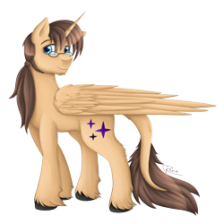 Size: 2000x2000 | Tagged: safe, artist:renaphin, oc, oc only, oc:ryonez coruscare, alicorn, pony, 2020 community collab, derpibooru community collaboration, alicorn oc, beard, facial hair, glasses, leonine tail, male, simple background, solo, transparent background, unshorn fetlocks