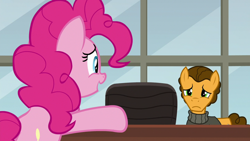 Size: 1920x1080 | Tagged: safe, screencap, cheese sandwich, pinkie pie, earth pony, pony, the last laugh, clothes, duo, female, male, mare, stallion, sweater, turtleneck
