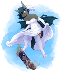 Size: 1684x2000 | Tagged: safe, artist:replica, oc, oc only, oc:nolegs, oc:speck, anthro, bat pony, unguligrade anthro, anthro oc, bat pony oc, bride, clothes, dress, evening gloves, female, gloves, long gloves, mare, shoes, shoulderless, skateboard, skateboarding, stockings, thigh highs, wedding dress, wedding veil