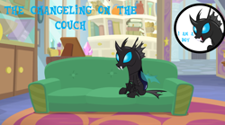 Size: 1280x714 | Tagged: safe, edit, edited screencap, screencap, kevin (changeling), changeling, book, circle, couch, elf on the shelf, male, sitting, starlight's office, text, trophy, window