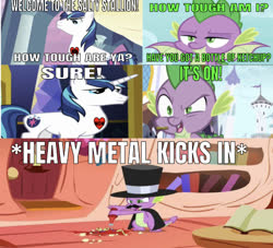 Size: 639x581 | Tagged: safe, edit, edited screencap, editor:undeadponysoldier, screencap, shining armor, spike, dragon, unicorn, series:spikebob scalepants, molt down, owl's well that ends well, caption, comic, discovery family logo, facial hair, food, golden oaks library, hat, heart, heavy metal, how tough are ya meme, image macro, ketchup, ketchup bottle, male, moustache, sauce, screencap comic, stallion, tattoo, text, top hat, winged spike, wrong aspect ratio
