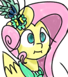 Size: 816x915 | Tagged: safe, artist:treble clefé, fluttershy, pegasus, pony, :i, alternate hairstyle, bust, clothes, cute, dress, gala dress, simple background, solo, we bought two cakes, white background