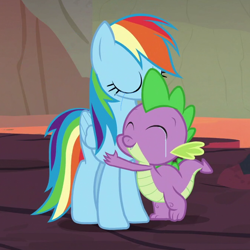 Size: 670x670 | Tagged: safe, edit, edited screencap, editor:undeadponysoldier, screencap, rainbow dash, spike, dragon, pegasus, pony, shadow play, best friends until the end of time, cropped, crying, female, heartwarming, hug, lava, male, mama dash, mare, spikelove, tears of joy