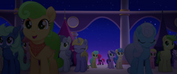Size: 1920x804 | Tagged: safe, screencap, clear skies, linky, melody star, shoeshine, tempest shadow, earth pony, pegasus, pony, unicorn, my little pony: the movie, armor, background pony, bandana, broken horn, crowd, eyes closed, female, happy, horn, male, mare, night, rainbow (song), sad, stallion, standing, stars, unnamed pony, walking, walking away
