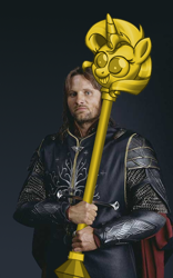 Size: 500x800 | Tagged: safe, edit, sunset shimmer, human, anduril, aragorn, armor, irl, irl human, looking at you, lord of the rings, photo, scepter, solo, sword, twilight scepter, wat, weapon