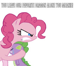 Size: 647x578 | Tagged: safe, artist:quilltastic, edit, editor:undeadponysoldier, pinkie pie, spike, earth pony, pony, angry, crying, female, hug, mare, meme, offscreen character, protecting, simple background, spikelove, white background