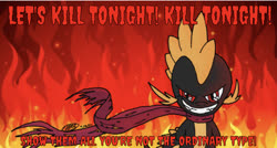 Size: 1224x654 | Tagged: artist needed, safe, edit, editor:undeadponysoldier, spike, dragon, elements of insanity, assspike, badass, bloodshot eye, clothes, evil, evil grin, fire, grin, hands behind back, implied murder, let's kill tonight, looking at you, male, panic! at the disco, red eye, scarf, sinister, smiling, song reference