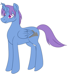 Size: 1102x1200 | Tagged: safe, artist:puddingskinmcgee, derpibooru exclusive, oc, oc only, oc:silver crown, alicorn, hybrid, pony, interspecies offspring, male, offspring, parent:discord, parent:princess celestia, parents:dislestia, simple background, smiling, solo, standing, transparent background