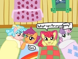 Size: 4096x3112 | Tagged: safe, artist:poniidesu, apple bloom, cozy glow, scootaloo, sweetie belle, earth pony, pegasus, pony, unicorn, /mlp/, blanket, cloud, clubhouse, cozyloo, curtain, cutie mark crusaders, female, filly, hill, lesbian, moon, night, nordic gamer, scrunchy face, shipping, sleepover, text, window, yes