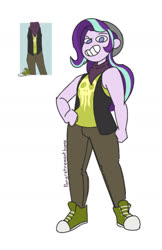 Size: 1044x1607 | Tagged: safe, artist:ponyretirementhome, starlight glimmer, human, equestria girls, bandana, beanie, clothes, converse, female, grin, hat, jeans, pants, shirt, shoes, simple background, skull, smiling, solo, t-shirt, vest, white background