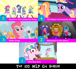 Size: 1704x1560 | Tagged: safe, artist:don2602, edit, edited screencap, screencap, adagio dazzle, applejack, aria blaze, bon bon, carrot top, cherry berry, fluttershy, golden harvest, linky, luster dawn, pinkie pie, princess cadance, queen chrysalis, rainbow dash, rarity, sassaflash, shoeshine, sonata dusk, spring melody, sprinkle medley, sweetie drops, twilight sparkle, alicorn, earth pony, pony, unicorn, a canterlot wedding, a friend in deed, equestria girls, equestria girls (movie), rainbow rocks, the last problem, arms in the air, clothes, crown, disguise, disguised siren, dress, eyes closed, garland, helping twilight win the crown, jewelry, looking at each other, looking at you, mane six, mirror, multiple characters, one eye closed, reflection, regalia, smile song, sweater, the dazzlings, the magic of friendship grows, this day aria, top 100 mlp g4 songs, twilight sparkle (alicorn), welcome to the show, wink