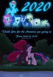 Size: 3500x5000 | Tagged: safe, artist:ejlightning007arts, applejack, fluttershy, pinkie pie, rainbow dash, rarity, tempest shadow, twilight sparkle, alicorn, earth pony, pegasus, unicorn, the last problem, 2020, alicornified, alternate timeline, eye scar, eyes closed, female, holding hooves, lake, lesbian, mane six, new year, princess tempest shadow, princess twilight 2.0, race swap, scar, shipping, tempest gets her horn back, tempesticorn, tempestlight, thank you for the memories, tree, twilight sparkle (alicorn), unicorn twilight