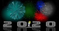 Size: 9500x5000 | Tagged: safe, artist:strategypony, oc, oc:reno, pony, unicorn, 2020, absurd resolution, fireworks, new year