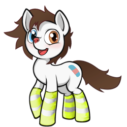 Size: 2000x2000 | Tagged: safe, artist:darkdoomer, derpibooru exclusive, oc, oc only, oc:pone anthony, earth pony, pony, 2020 community collab, derpibooru community collaboration, clothes, deer nose, heterochromia, male, simple background, socks, solo, striped socks, transparent background