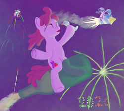 Size: 1233x1111   Tagged: safe, artist:quint-t-w, berry punch, berryshine, starlight glimmer, trixie, earth pony, pony, unicorn, 2020, bottle, cape, clothes, eyes closed, fireworks, flying, glass, hat, open mouth, pun in description, riding, rocket, smoke, toy interpretation, trixie's cape, trixie's hat, trixie's rocket, windswept mane