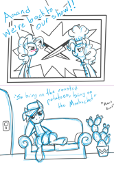 Size: 1280x1922 | Tagged: safe, artist:gearholder, pinkie pie, surprise, pony, apron, cactus, chef's hat, clothes, couch, hat, knife, male, sketch, stallion, television