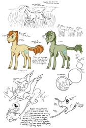 Size: 2550x3773 | Tagged: safe, artist:phobicalbino, oc, oc only, oc:finnigan, kelpie, original species, pegasus, pony, dewclaw, egg, facial hair, female, fins, goatee, leprechaun, long tongue, male, mare, sideburns, simple background, stallion, swimming, tongue out, water, white background