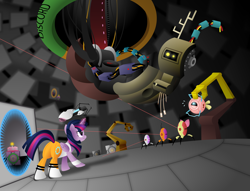 Size: 1920x1470 | Tagged: safe, artist:aleximusprime, apple bloom, cozy glow, discord, pinkie pie, scootaloo, spike, sweetie belle, twilight sparkle, alicorn, cake, companion cube, cutie mark crusaders, food, inanimate tf, my little portal, portal (valve), portal 2, portal gun, transformation, twilight sparkle (alicorn)