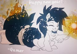Size: 991x690 | Tagged: safe, artist:thegamercolt, oc, oc:thegamercolt, earth pony, big tail, fireworks, happy new year, holiday, hyper tail, on fire, this will not end well