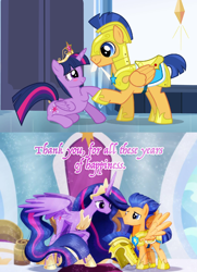 Size: 1062x1464 | Tagged: safe, artist:jucamovi1992, edit, screencap, flash sentry, twilight sparkle, alicorn, pegasus, pony, equestria girls, equestria girls (movie), the last problem, spoiler:s09e26, armor, big crown thingy, canterlot, crown, crystal empire, element of magic, female, flashlight, friends, friendship, helmet, jewelry, knight, looking at each other, male, older, older flash sentry, older twilight, princess twilight 2.0, regalia, royal guard, royal guard armor, shipping, smiling, straight, then and now, throne, twilight sparkle (alicorn)