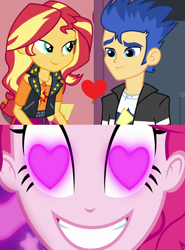 Size: 800x1084 | Tagged: safe, edit, edited screencap, screencap, flash sentry, pinkie pie, sunset shimmer, coinky-dink world, eqg summertime shorts, equestria girls, equestria girls (movie), equestria girls series, holidays unwrapped, spoiler:eqg series (season 2), female, flashimmer, geode of empathy, magical geodes, male, meme, pinkie the shipper, pinkie's eyes, shipping, shipping domino, straight