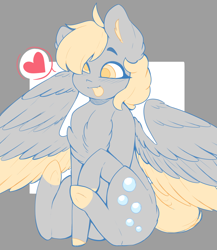 Size: 1280x1473 | Tagged: safe, artist:coonyloony, derpy hooves, pegasus, pony, :p, abstract background, chest fluff, colored hooves, colored pupils, colored tongue, cute, derpabetes, ear fluff, female, heart, mare, no catchlights, pictogram, sitting, solo, speech bubble, spread wings, tongue out, two toned wings, wings