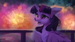 Size: 1920x1080 | Tagged: safe, artist:hierozaki, twilight sparkle, alicorn, pony, female, fireworks, happy new year, happy new year 2020, holiday, mare, open mouth, solo, twilight sparkle (alicorn)